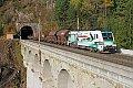 Foto zeigt: e-card-Werbetaurus 1116.130 mit Sondergüterzug am Semmering