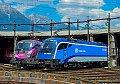 Foto zeigt: CD-RailJet 1216 trifft ESC 1116 in Innsbruck