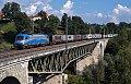Foto zeigt: Adria/ LTE 1216.920 auf dem Goggerwenig-Viadukt mit Stante Containerzug