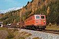am Foto: 1010.01 mit ÖBB-Flügelrad, Güterzug, Bischofshofen (Giselabahn 1983)
