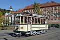 am Foto: GVB TW 93 als Linie 140 Laudongase - Hauptbahnhof, Erzherzog-Johann-Brücke mit Uhrturm (Graz)