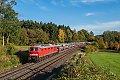 Foto zeigt: DB 232.259 mit Skoda-Autozug bei Kulmain (Strecke: Eger - Nürnberg)