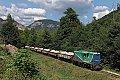 am Foto: Schmalspurlok - L45H-051 mit Schotterzug bei Bistrita (Industriebahn in Rumänien)