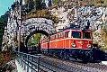 Foto zeigt: 1042.586, 1042.594, 1044.60 mit Güterzug nahe Breitenstein beim Krausel Tunnel-Portal (Semmeringbahn 1984)
