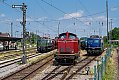 Foto zeigt:Grüne 151.001 neben V100.1365 und blauer 110.262, Nostalgiefahrzeuge, BEM Nördlingen (Bayern), 23.07.2021